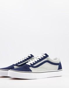 Кроссовки темно-синего/серого цвета Vans Old Skool-Белый