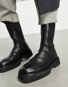 Черные кожаные ботинки челси до середины икры на толстой подошве ASOS DESIGN-Черный цвет