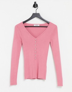 Розовый вязаный топ на пуговицах спереди Morgan-Розовый цвет