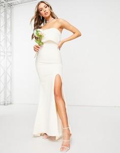 Светло-бежевое платье-бандо макси с разрезом на бедре Jarlo-Белый