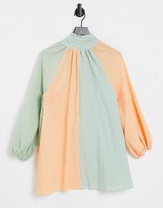 Платье с присборенной юбкой, высоким воротником и вставками в клетку Lost Ink-Многоцветный