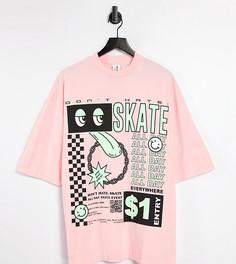 "Розовая oversized-футболка с принтом ""Skate"" COLLUSION-Розовый цвет"