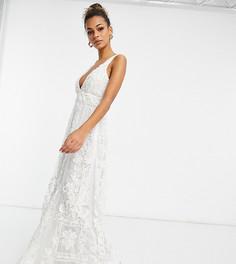 Эксклюзивное декорированное свадебное платье цвета слоновой кости с глубоким вырезом A Star Is Born-Белый