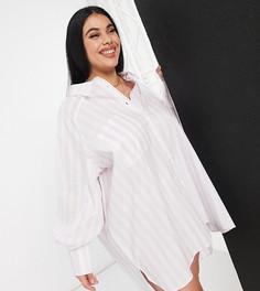 Платье-рубашка в стиле oversized в сиреневую полоску с объемными рукавами Threadbare Plus Size-Фиолетовый цвет