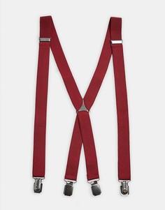 Бордовые однотонные подтяжки Topman-Красный