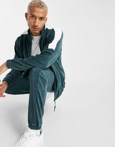 Спортивная куртка в стиле oversized из велюра в рубчик с эффектом колор-блок ASOS DESIGN-Зеленый цвет