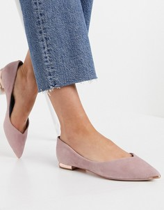 Светло-розовые туфли с заостренным носком на плоской подошве Ted Baker-Розовый цвет