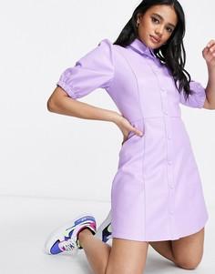 Сиреневое платье мини с пышными рукавами из искусственной кожи NA-KD-Сиреневый