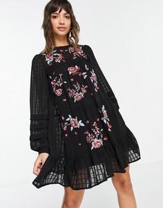 Черное свободное платье мини в клетку, с вышивкой ASOS DESIGN-Черный цвет
