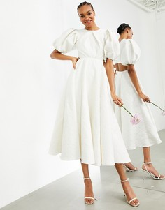 Свадебное жаккардовое платье спышными рукавами ивырезом на спине ASOS EDITION Bridget-Белый
