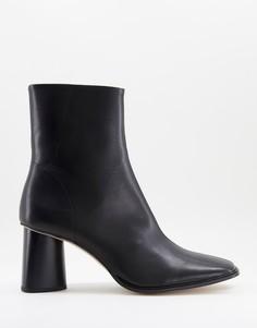 Черные кожаные ботинки челси с квадратным носом и с черной подошвой ASOS DESIGN-Черный цвет