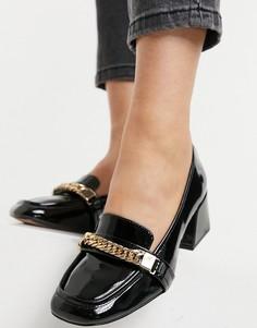 Черные лакированные лоферы сквадратным носком ASOS DESIGN Sinclair-Черный