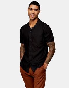 Черная рубашка с отложным воротником Topman Considered-Черный цвет