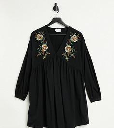 Платье мини с V-образным вырезом и цветочной вышивкой ASOS DESIGN Maternity-Черный цвет
