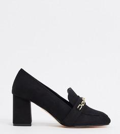 Черные лоферы для широкой стопы на каблуке с цепочкой London Rebel-Черный