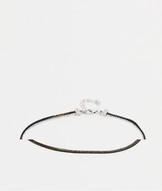 Браслет на ногу с двойной цепочкой серебристого цвета и цвета начищенного золота ASOS DESIGN-Серебристый