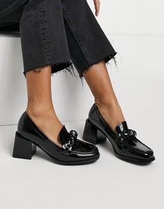 Черные лакированные лоферы на каблуках RAID Reign-Черный цвет