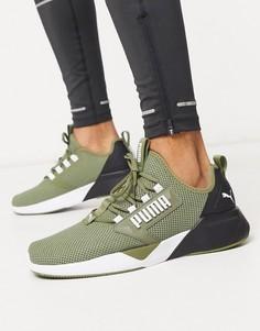 Кроссовки цвета хаки PUMA Running Retaliate-Зеленый цвет