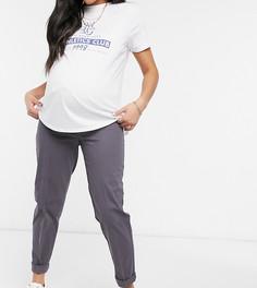 Серые брюки-чиносы с эластичной лентой под животом ASOS DESIGN Maternity-Серый