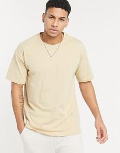 Светло-желтая oversized-футболка New Look-Светло-бежевый