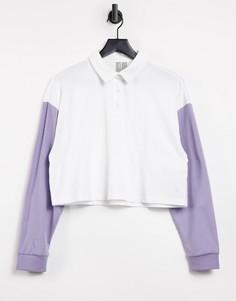 Свободная белая с сиреневым футболка-поло в стиле колор блок ASOS DESIGN-Белый