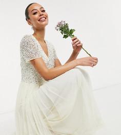 Свадебное платье макси из тюля цвета экрю с V-образным вырезом и элегантной отделкой пайетками в тон Maya Tall-Кремовый