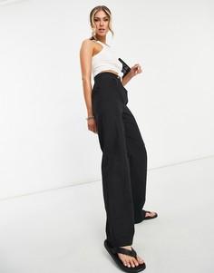 Черные льняные брюки прямого кроя ASOS DESIGN-Черный цвет