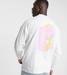Белый oversized-футболка с принтом упаковки мыла на груди испине ASOS DESIGN Tall