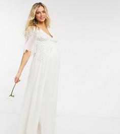 Свадебное платье макси цвета слоновой кости с глубоким вырезом V-образным вырезом, отделкой бисером и цветочным узором Hope & Ivy Maternity-Белый