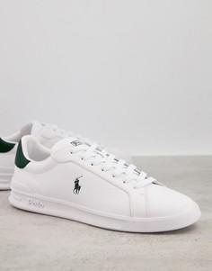 Белые перфорированные кожаные кроссовки с зеленым логотипом Polo Ralph Lauren-Белый