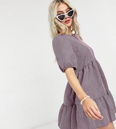 Розовое платье мини в мелкую клетку с присборенной юбкой и рукавами длиной 3/4 New Look Petite-Розовый