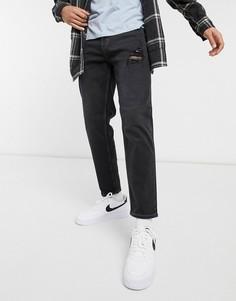 Черные узкие джинсы с рваной отделкой New Look-Черный цвет
