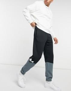 Черные джоггеры в стиле колор блок с логотипом-трилистником adidas Originals-Черный цвет