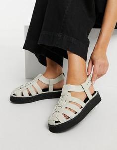 Кремовые кожаные туфли премиум-класса в рыбацком стиле на плоской подошве ASOS DESIGN Mali-Белый