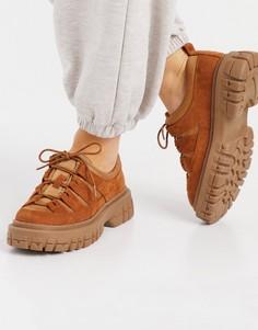 Светло-коричневые туфли на массивной плоской подошве ASOS DESIGN Manx-Коричневый