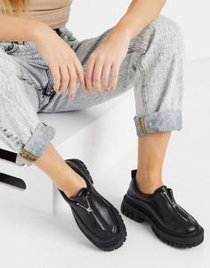 Черные туфли на плоской толстой подошве с молнией спереди ASOS DESIGN Miya-Черный цвет