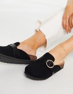 Черные туфли на плоской подошве сзакрытым носком ASOS DESIGN Musa-Черный цвет