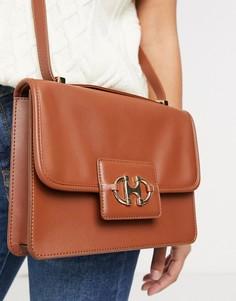 Светло-коричневая сумка-портфель встиле 70-х с фурнитурой ввиде трензеля ASOS DESIGN-Коричневый цвет
