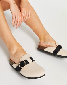 Бежевые туфли на плоской подошве сзакрытым носком ASOS DESIGN Musa-Нейтральный