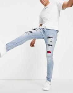 Голубые зауженные джинсы с рваной отделкой и вставками в клетку тартан Sixth June-Голубой