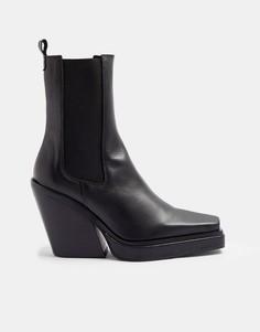Черные ботинки челси на каблуке сквадратным носком в стиле вестерн Topshop Hero-Черный цвет