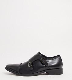 Черные кожаные туфли на шнуровке для широкой стопы Dune-Черный цвет