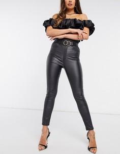 Черные брюки прямого кроя сзавышенной талией ипокрытием NA-KD-Черный