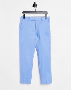 Зауженные строгие брюки голубого цвета до щиколотки ASOS DESIGN-Голубой