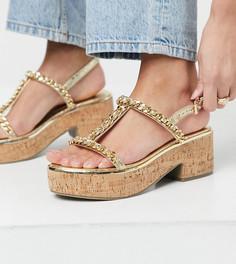 Золотистые туфли для широкой стопы на платформе, с цепочкой ASOS DESIGN-Золотистый
