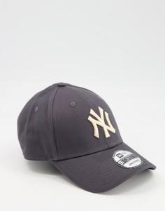 "Темно-серая бейсболка с логотипом команды ""NY Yankees"" New Era 9FORTY-Темно-синий"