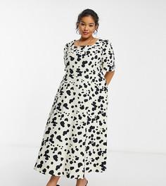 Бежевое приталенное платье миди с пышными рукавами и черным звериным принтом COLLUSION Plus-Нейтральный