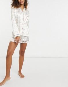 Атласная пижама кремового цвета с рубашкой и шортами в розовый горошек Night-Многоцветный