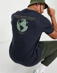 "Темно-синяя oversized-футболка с принтом на спине ""Worldwide"" Only & Sons-Темно-синий"
