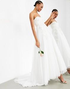 Свадебное платье-бандо с пышной юбкой и цветочной вышивкой ASOS EDITION Matilda-Белый